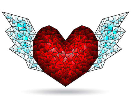 Illustration in stained glass style with abstract winged heart, figure isolated on white background 矢量图像