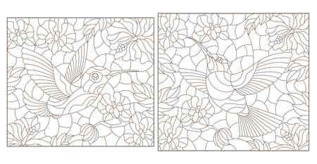 Set of contour illustrations of stained glass Windows with Hummingbird birds and flowers, dark outlines on a white background, rectangular images