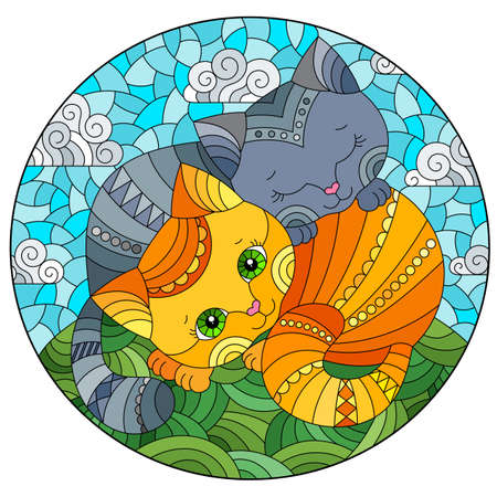 A stained glass illustration with a pair of cartoon cats in a meadow against a cloudy sky, oval image 免版税图像 - 164052482