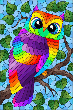 A stained glass illustration with a cute cartoon rainbow owl sitting on a tree branch against a blue sky