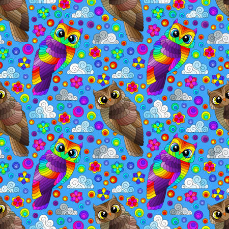 Seamless pattern with a cute bright owls, flowers and clouds on a blue sky background 免版税图像 - 164073752