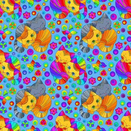 Seamless pattern with bright cats and flowers in stained glass style on a blue background