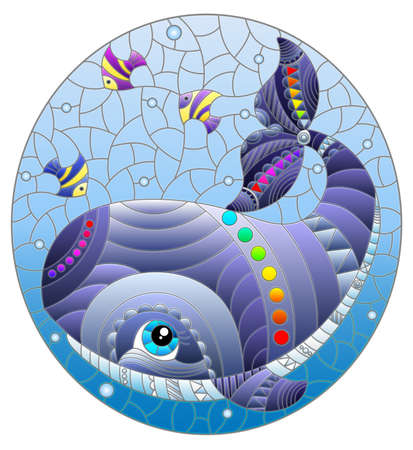 Stained glass illustration with an abstract cartoon gray whale and fish on a background of water and air bubbles, oval image 矢量图像
