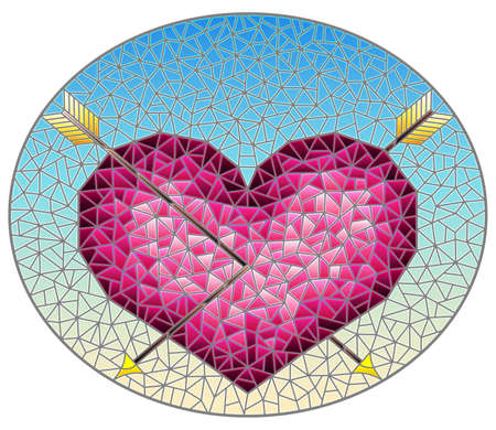 Illustration in stained glass style with an abstract pink heart pierced by arrows on a blue background, oval image 矢量图像