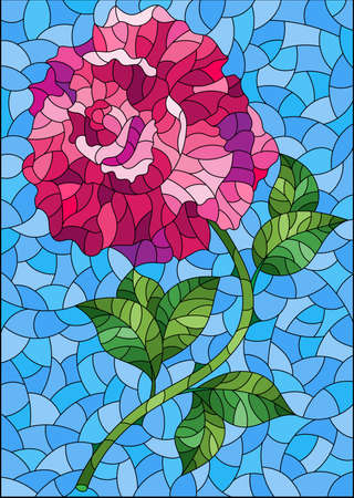 Illustration in stained glass style with a bright pink rose flower on a blue background, rectangular image