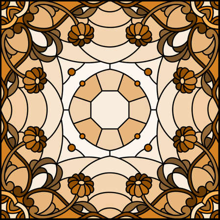 Illustration in the stained glass style with an abstract flower arrangement on a light background, square image, monochrome, tone brown