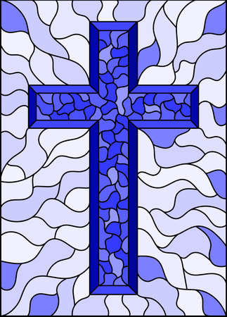 The illustration in stained glass style painting on religious themes, stained glass window with a Christian cross, monochrome, tone blue
