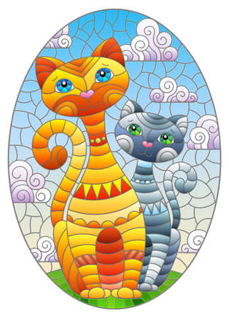 A stained glass illustration with a pair of cartoon cats in a meadow against a cloudy sky, oval image