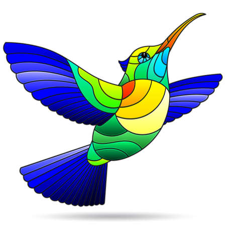Illustration in the stained glass style of a bright Hummingbird bird, isolated on a white background