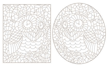 Set of contour illustrations of stained glass Windows with cute cartoon owls on tree branches, dark outlines on a white background 矢量图像