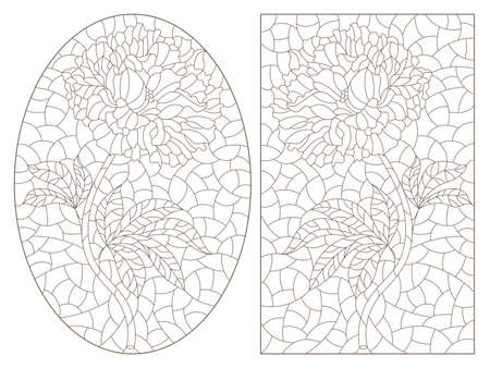 Set of contour illustrations in stained glass style with abstract flowers, dark outlines on a white background