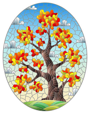 Illustration in the stained glass style with a autumn tree, against a background of a meadow and a blue cloudy sky, oval image