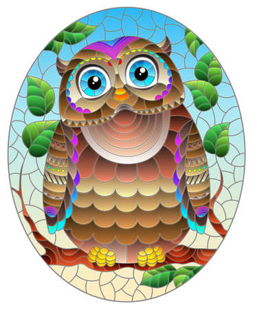 A stained glass illustration with a bright abstract owl on a background of tree branches and blue sky, oval image