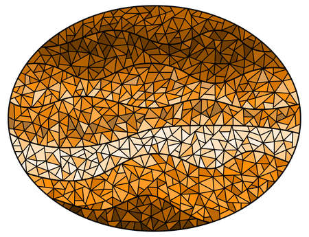 Abstract stained glass with cracked background, monochrome, tone brown, oval image