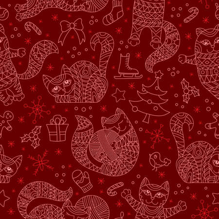 Seamless pattern on the theme of new year and Christmas with cats and toys, light contours on a red background 免版税图像 - 164309584