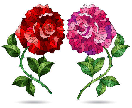 A set of illustrations in a stained glass style with bright rose flowers, isolated on a white background