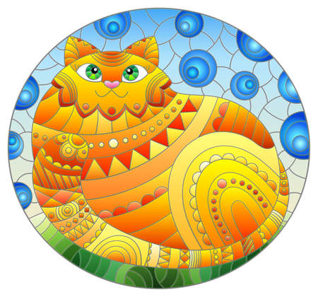 Illustration in stained glass style with abstract cute red cat on a blue background, oval image 矢量图像