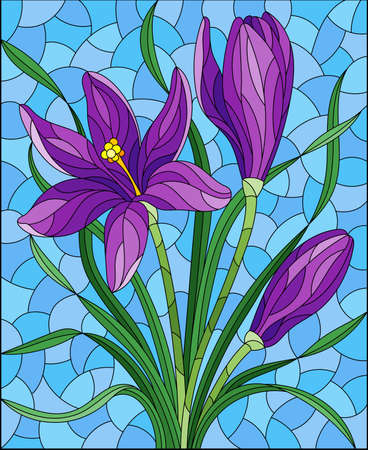Illustration in stained glass style with purple hyacinth flowers on a blue background, rectangular image