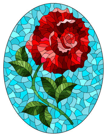 Illustration in stained glass style with a bright red rose flower on a blue background, oval image