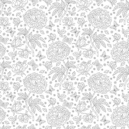 Seamless pattern with contour rose flowers and butterflies, dark outline flowers and insects on a white background