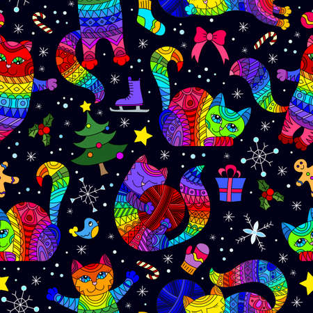 Seamless pattern on the theme of new year and Christmas with bright cats and toys on a dark background 矢量图像