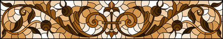 Illustration in stained glass style with abstract swirls, flowers and leaves, horizontal orientation, monochrome, tone brown