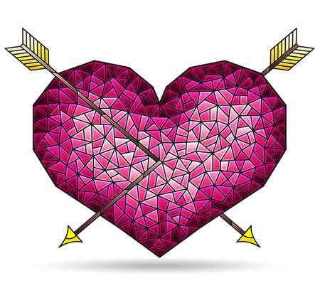 Illustration in stained glass style with abstract heart with arrows, figure isolated on white background