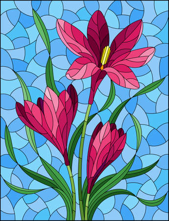Illustration in stained glass style with pink hyacinth flowers on a blue background, rectangular image 免版税图像 - 164302018
