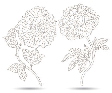 Set of contour illustrations in stained glass style with peony and rose flowers, dark outlines isolated on a white background 矢量图像