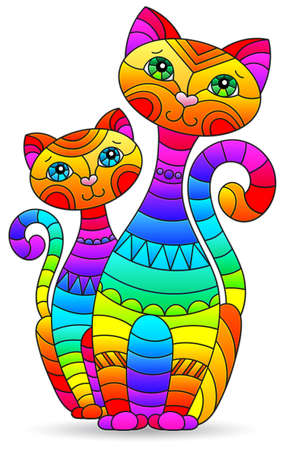 Illustration in stained glass style with abstract rainbow cats, figure isolated on white background
