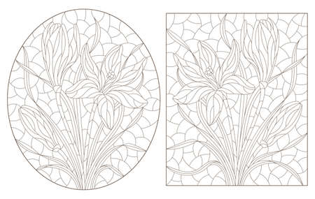 Set of contour illustrations in stained glass style with hyacinth flowers, dark outlines on a white background