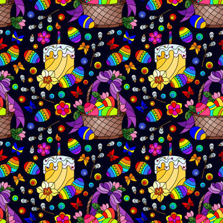 Seamless pattern on the theme of the Easter holiday, baskets, cakes, eggs and flowers on a dark background