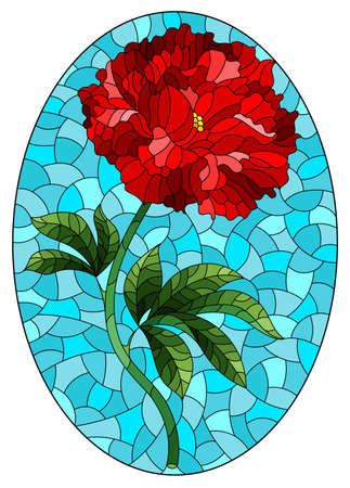 Illustration in stained glass style with a bright red peony flower on a blue background, oval image 矢量图像