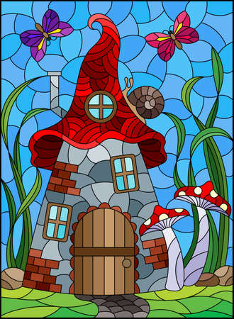 A stained-glass illustration with a fairy-tale dwarf house on a background of grass and blue sky