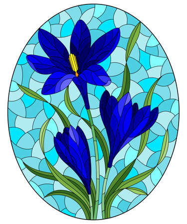 Illustration in stained glass style with a blue hyacinth flowers on a blue background, oval image