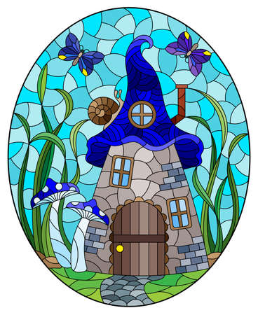 A stained-glass illustration with a fairy-tale dwarf house on a background of grass and blue sky, oval image 矢量图像