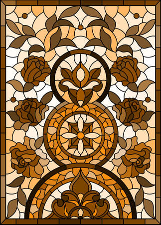 Illustration in stained glass style with abstract flowers, swirls and leaves on a light background, vertical orientation, tone brown, vertical image