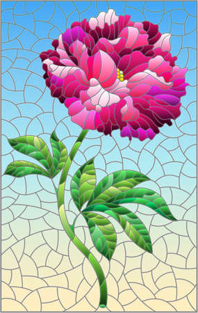 Illustration in stained glass style with a bright pink peony flower on a blue background, rectangular image