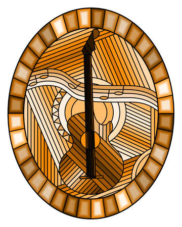 Illustration in stained glass style on the theme of music, abstract guitar and notes on an abstract background, oval image in bright frame, monochrome, tone brown