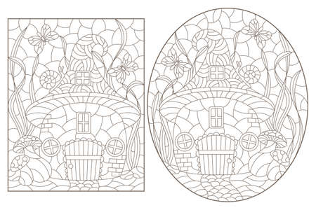 A set of contour illustrations with dwarf houses on a background of mushrooms and grass, dark outlines on a white background 矢量图像