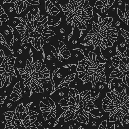 Seamless pattern with narcissuses and butterflies, light contoured flowers and butterflies on dark background 矢量图像