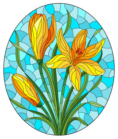 Illustration in stained glass style with a yellow hyacinth flowers on a blue background, oval image