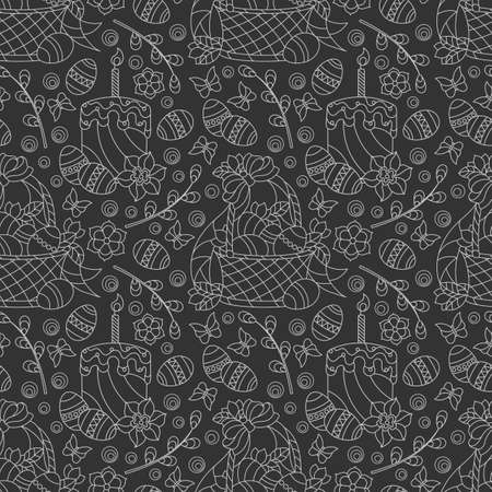 Seamless pattern on the theme of the Easter holiday, baskets, cakes, eggs and flowers, light contours on a dark background 矢量图像