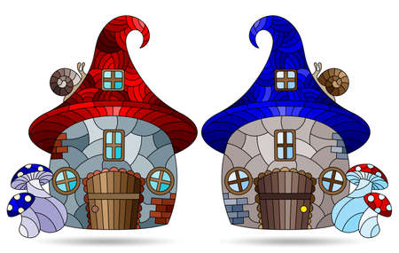 A set of illustrations in the stained glass style with dwarf houses, cozy houses in the form of mushrooms isolated on a white background 矢量图像