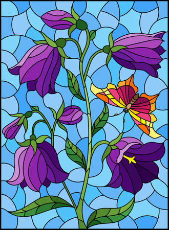 Illustration in stained glass style with purple bell flower and a butterfly on a blue background, rectangular image
