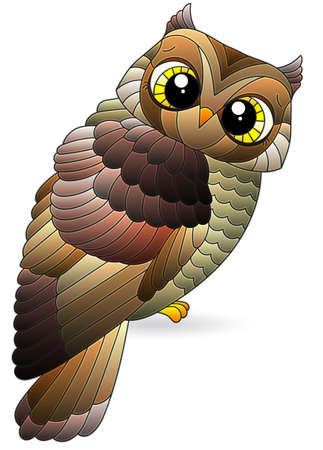 A stained glass illustration with a cute cartoon brown owl, a bird isolated on a white background