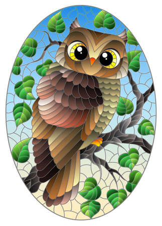 A stained glass illustration with a cute cartoon brown owl sitting on a tree branch against a blue sky background, oval image