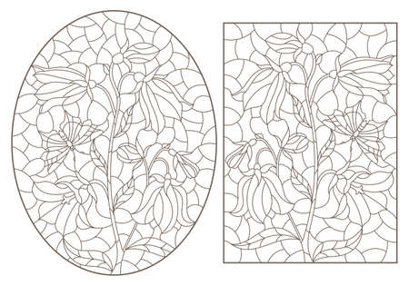 Set of contour illustrations with flowers, bells and butterflies, dark outlines on a white background