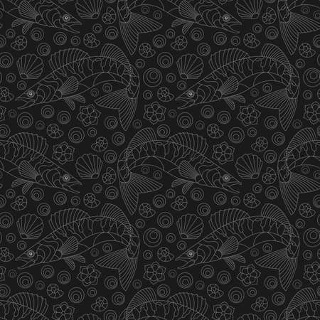 Seamless pattern with contour abstract fishes and shells, light outlines on a dark background