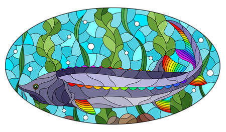 Illustration in stained glass style with bright abstract beluga fish on the background of algae, air bubbles and water, oval image  イラスト・ベクター素材